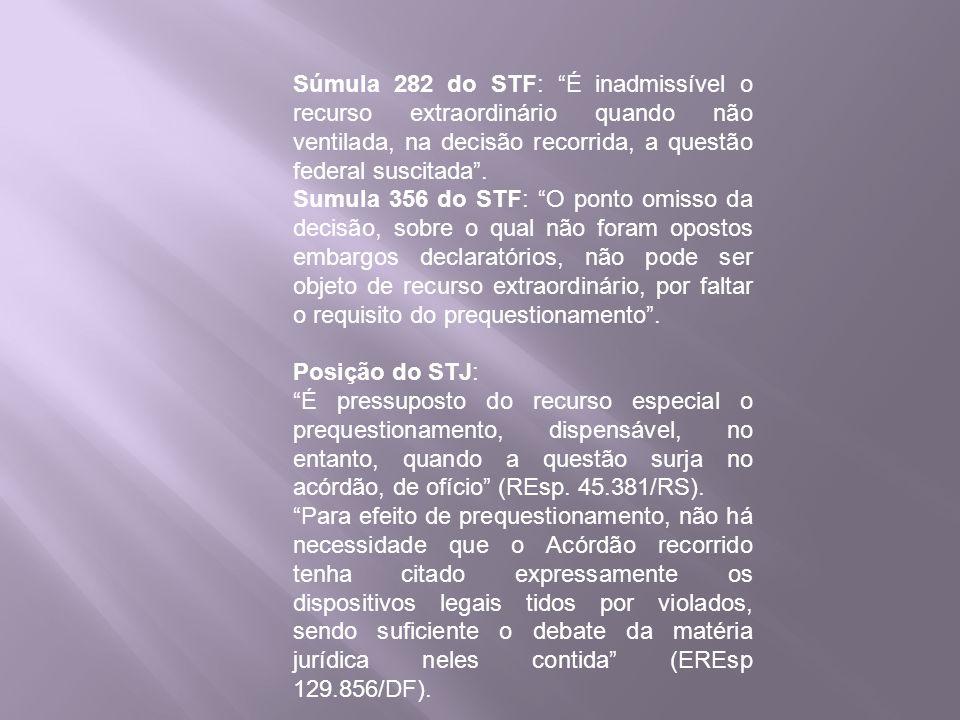 Súmula 282 do STF: É inadmissível o recurso extraordinário quando não ventilada, na decisão recorrida, a questão federal suscitada .