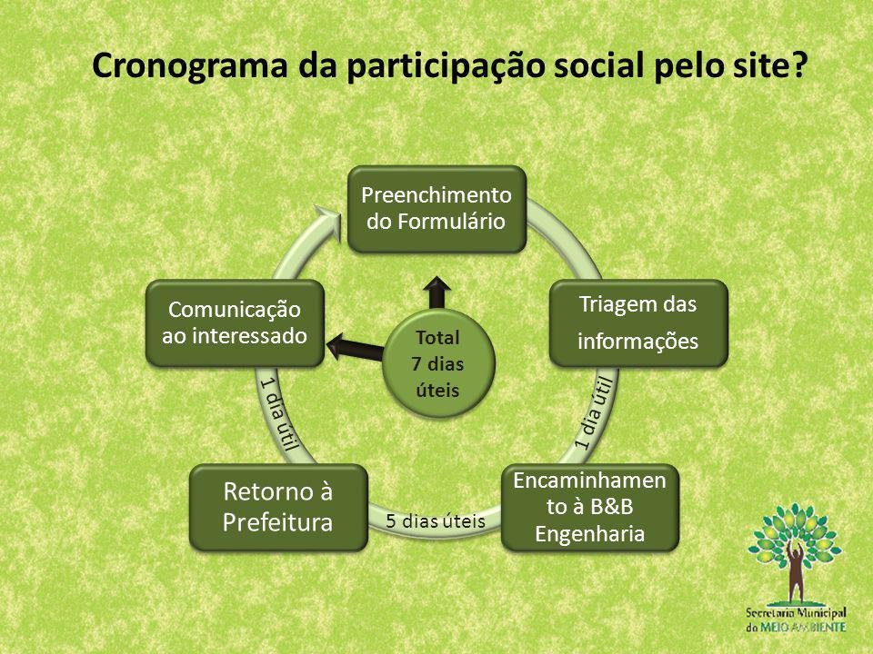 Cronograma da participação social pelo site