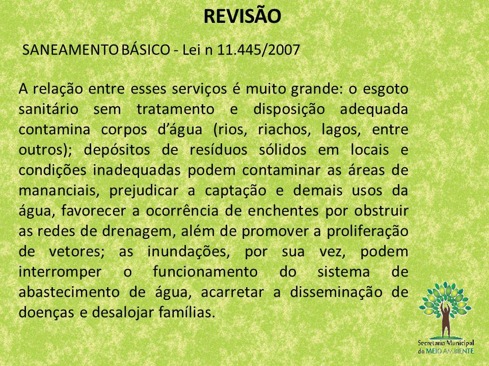 REVISÃO SANEAMENTO BÁSICO - Lei n 11.445/2007.