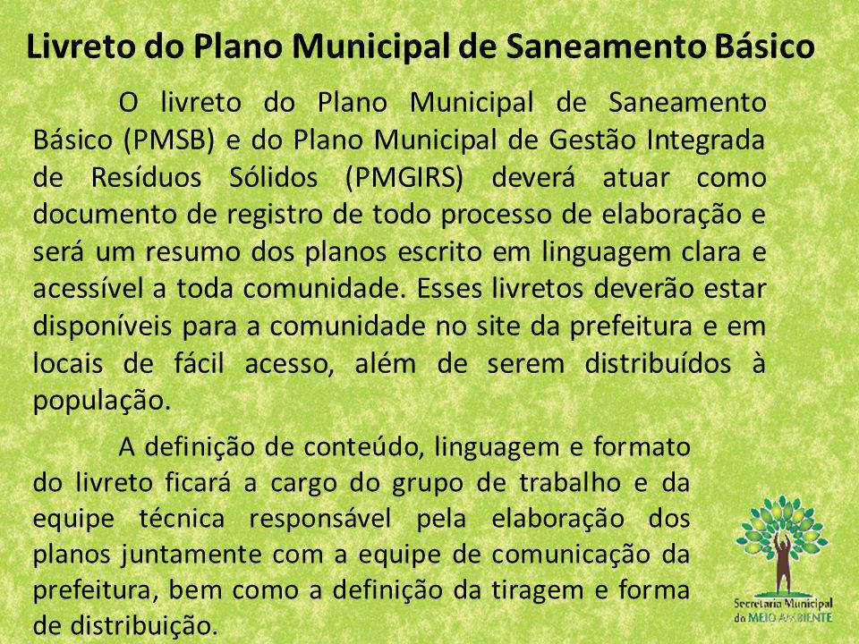 Livreto do Plano Municipal de Saneamento Básico