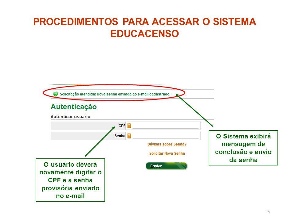 PROCEDIMENTOS PARA ACESSAR O SISTEMA EDUCACENSO