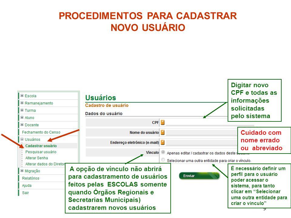 PROCEDIMENTOS PARA CADASTRAR NOVO USUÁRIO