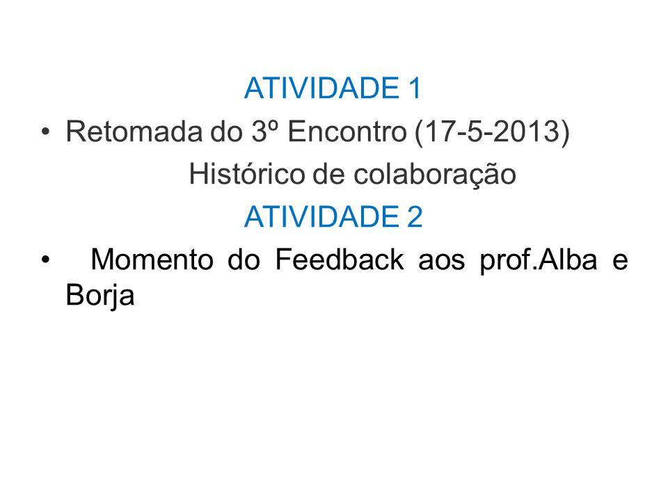 ATIVIDADE 1 Retomada do 3º Encontro (17-5-2013) Histórico de colaboração.