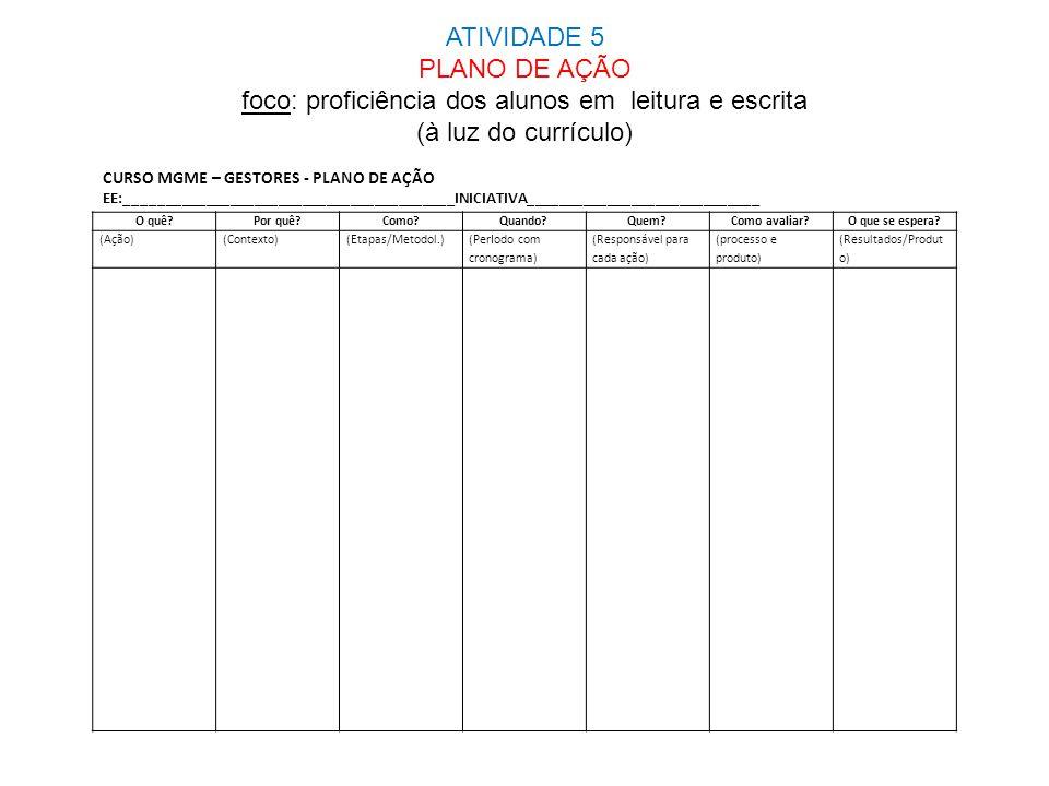 ATIVIDADE 5 PLANO DE AÇÃO foco: proficiência dos alunos em leitura e escrita (à luz do currículo)