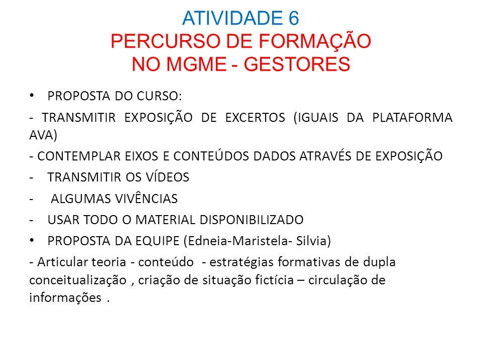 ATIVIDADE 6 PERCURSO DE FORMAÇÃO NO MGME - GESTORES