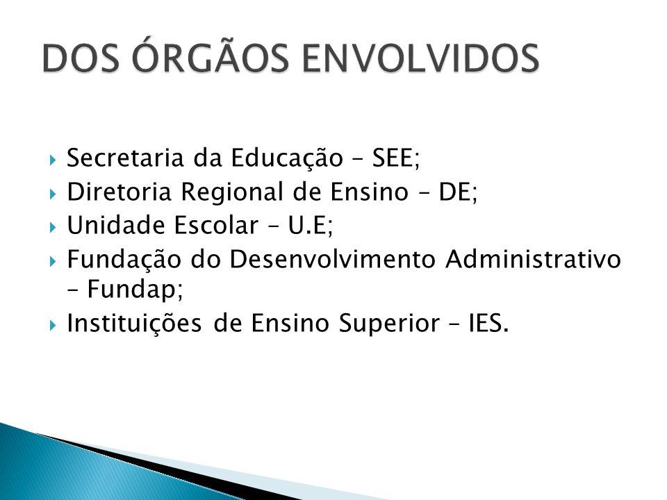 DOS ÓRGÃOS ENVOLVIDOS Secretaria da Educação – SEE;