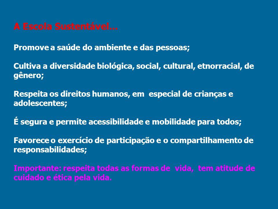 A Escola Sustentável... Promove a saúde do ambiente e das pessoas;