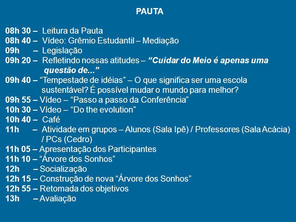 PAUTA 08h 30 – Leitura da Pauta. 08h 40 – Vídeo: Grêmio Estudantil – Mediação. 09h – Legislação.