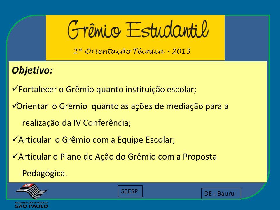 Objetivo: Fortalecer o Grêmio quanto instituição escolar;