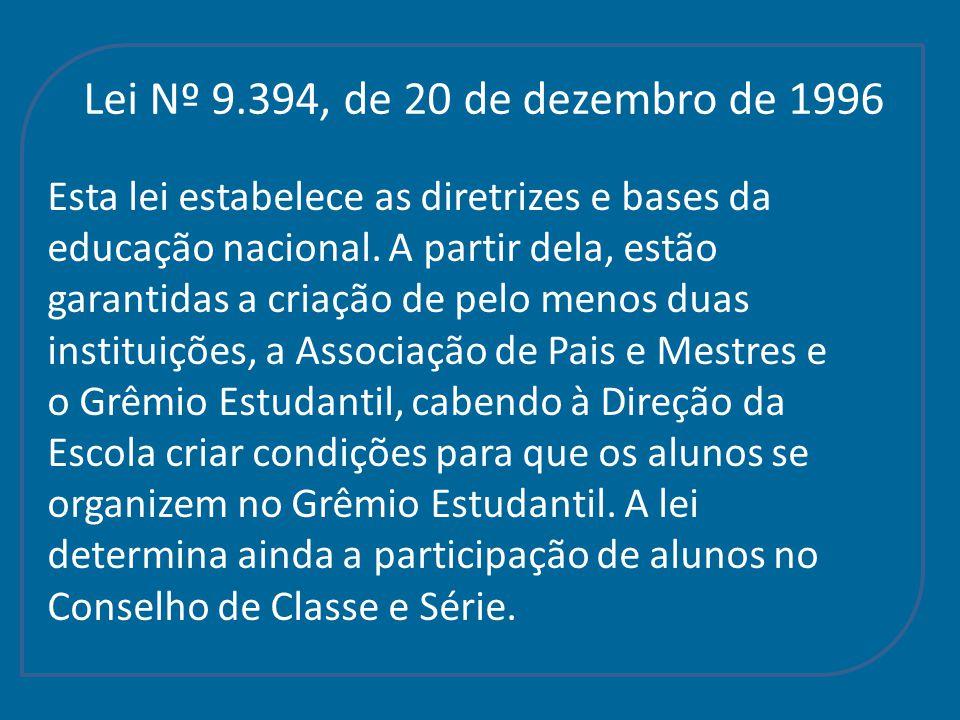 Lei Nº 9.394, de 20 de dezembro de 1996 Esta lei estabelece as diretrizes e bases da. educação nacional. A partir dela, estão.