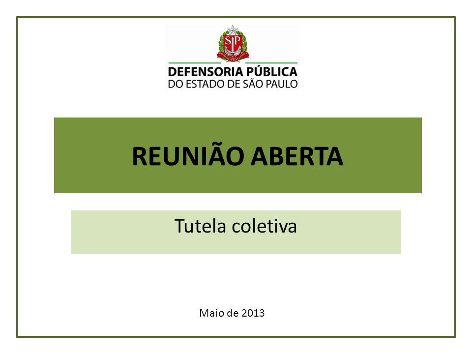 REUNIÃO ABERTA Tutela coletiva Maio de 2013