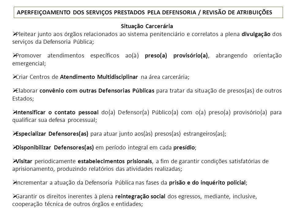 APERFEIÇOAMENTO DOS SERVIÇOS PRESTADOS PELA DEFENSORIA / REVISÃO DE ATRIBUIÇÕES