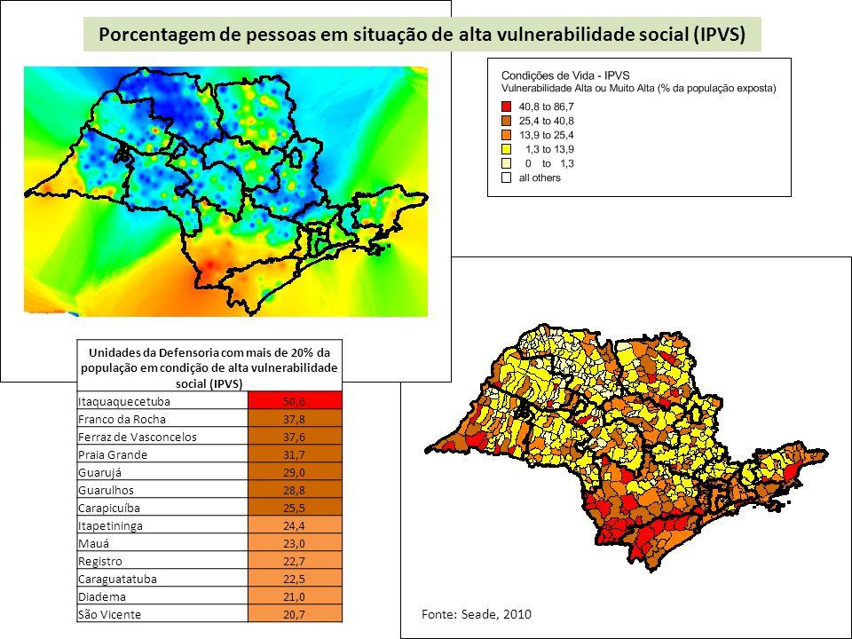 Porcentagem de pessoas em situação de alta vulnerabilidade social (IPVS)