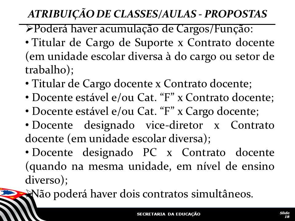 ATRIBUIÇÃO DE CLASSES/AULAS - PROPOSTAS