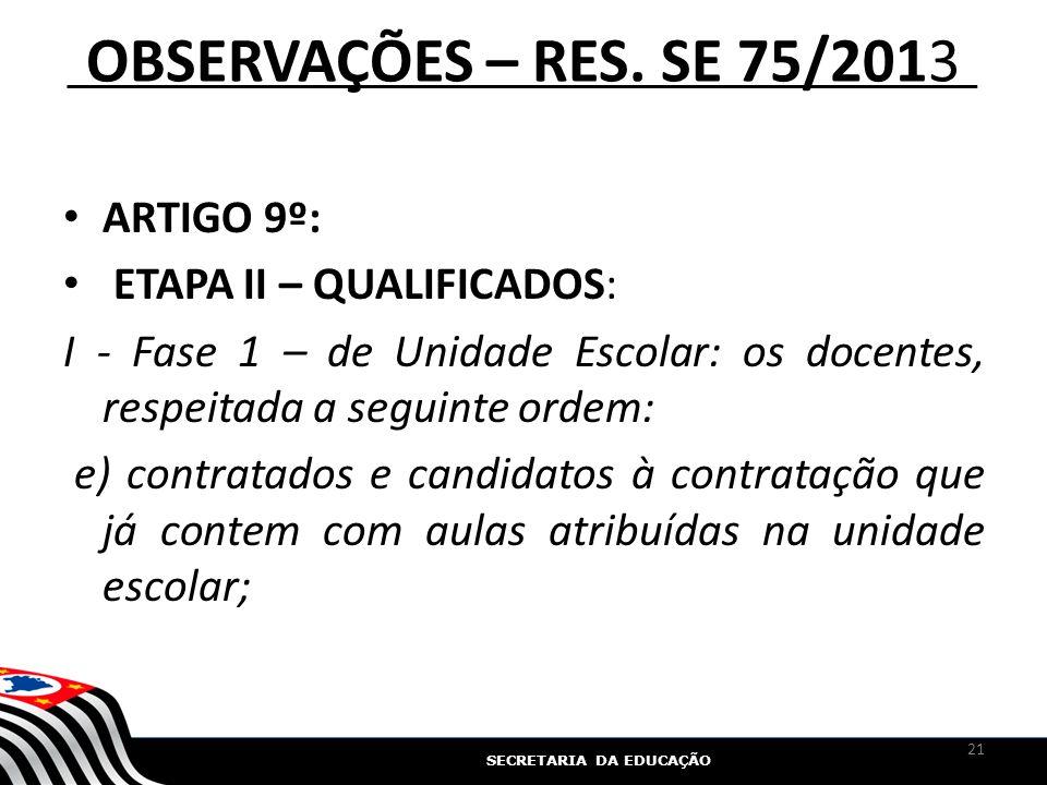 OBSERVAÇÕES – RES. SE 75/2013 ARTIGO 9º: ETAPA II – QUALIFICADOS: