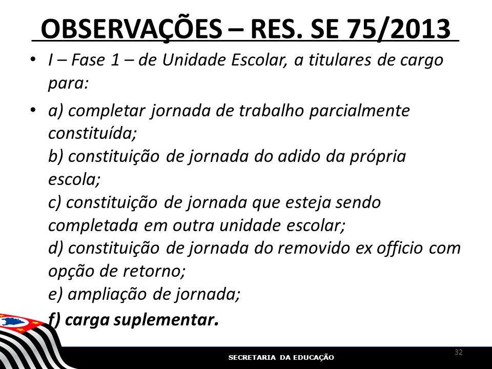 OBSERVAÇÕES – RES. SE 75/2013 I – Fase 1 – de Unidade Escolar, a titulares de cargo para: