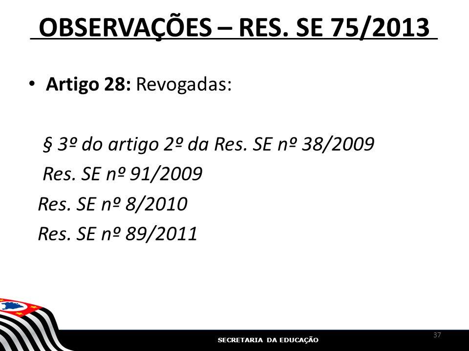 OBSERVAÇÕES – RES. SE 75/2013 Artigo 28: Revogadas: