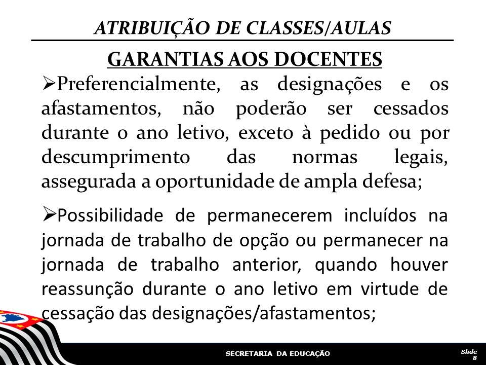 ATRIBUIÇÃO DE CLASSES/AULAS GARANTIAS AOS DOCENTES