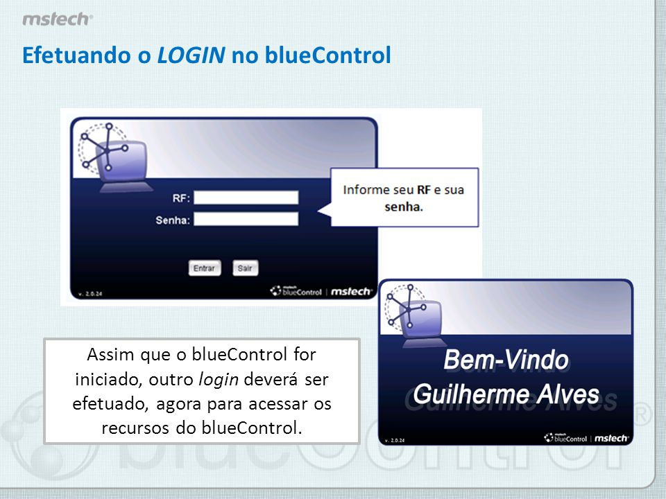 Efetuando o LOGIN no blueControl