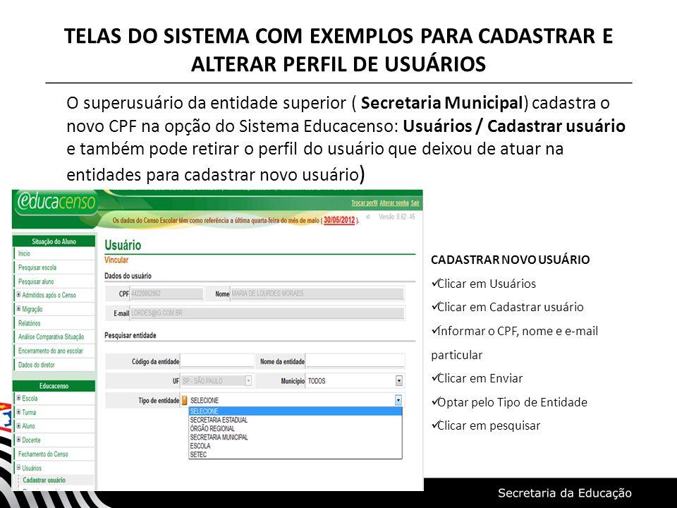TELAS DO SISTEMA COM EXEMPLOS PARA CADASTRAR E ALTERAR PERFIL DE USUÁRIOS