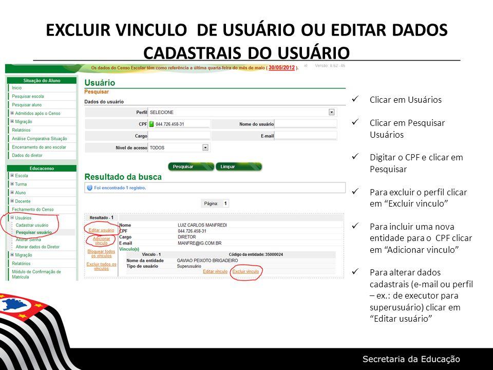 EXCLUIR VINCULO DE USUÁRIO OU EDITAR DADOS CADASTRAIS DO USUÁRIO