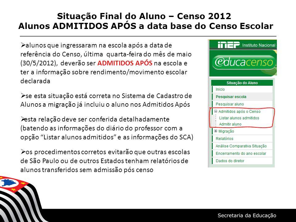 Situação Final do Aluno – Censo 2012 Alunos ADMITIDOS APÓS a data base do Censo Escolar