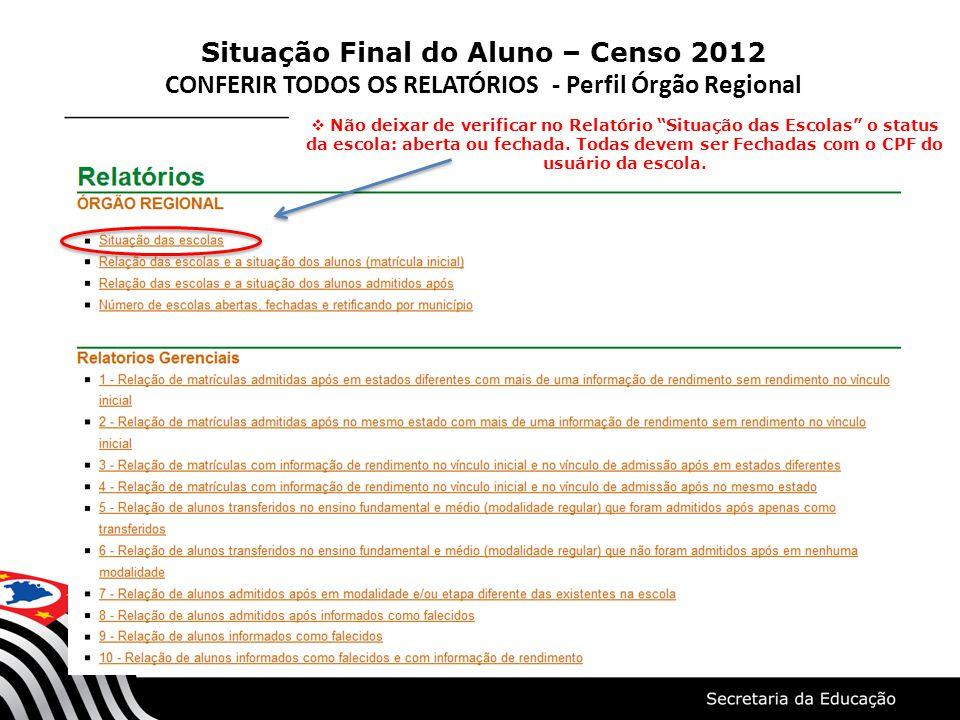 Situação Final do Aluno – Censo 2012 CONFERIR TODOS OS RELATÓRIOS - Perfil Órgão Regional