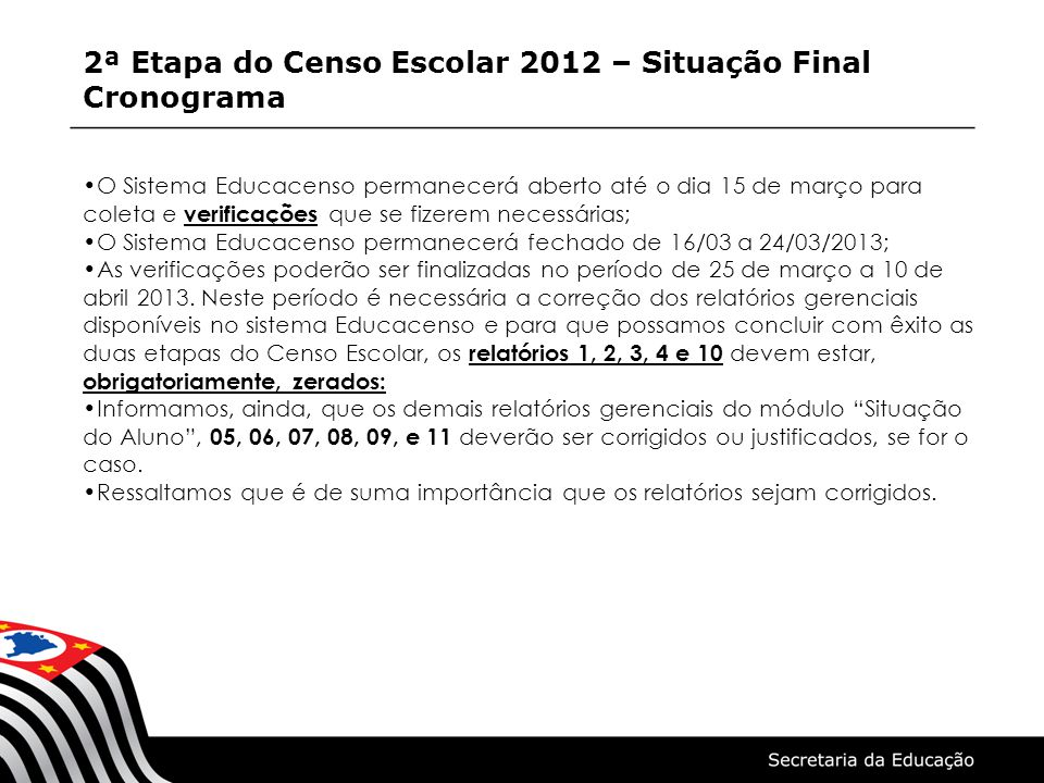 2ª Etapa do Censo Escolar 2012 – Situação Final Cronograma