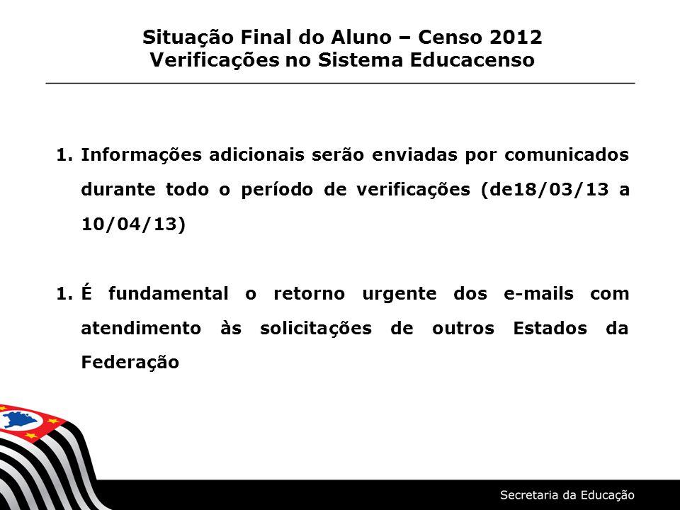 Situação Final do Aluno – Censo 2012 Verificações no Sistema Educacenso