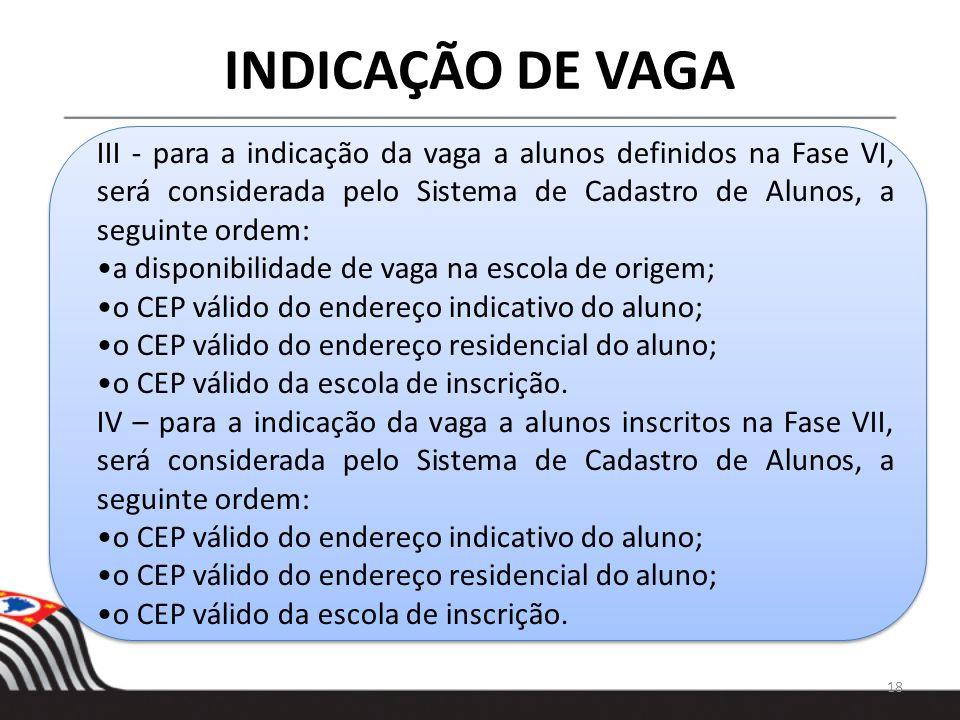 INDICAÇÃO DE VAGA