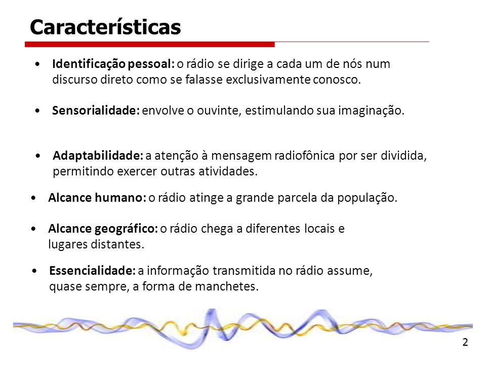 Características Identificação pessoal: o rádio se dirige a cada um de nós num discurso direto como se falasse exclusivamente conosco.