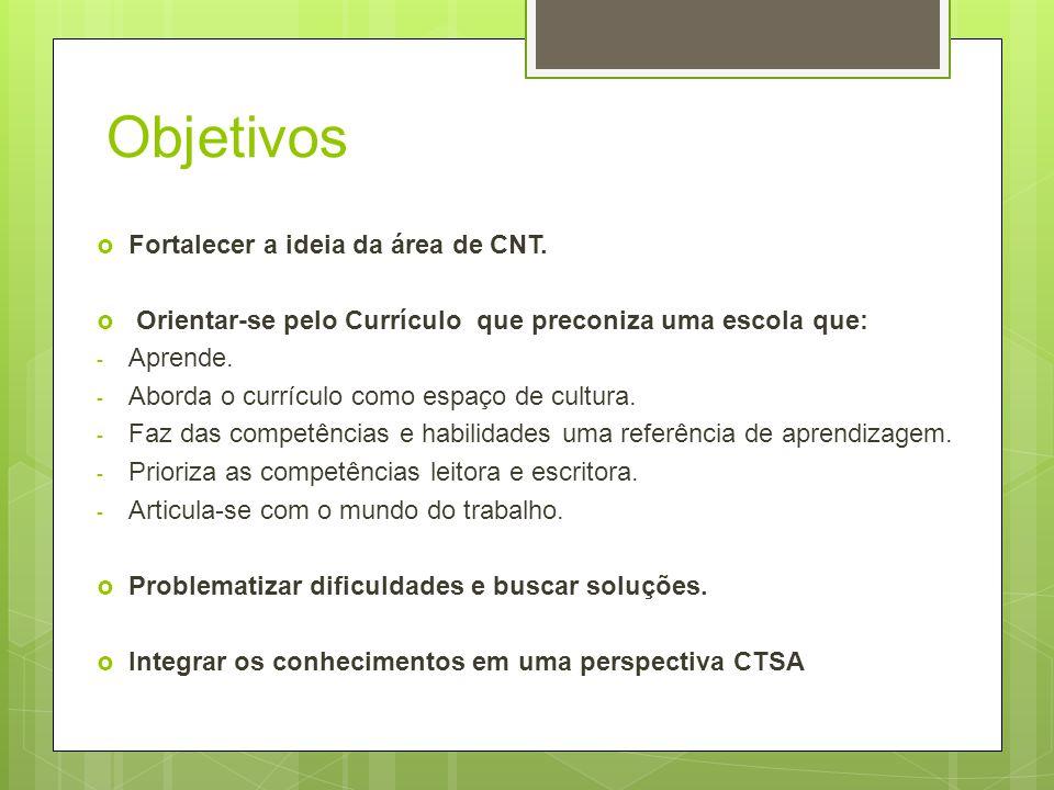 Objetivos Fortalecer a ideia da área de CNT.