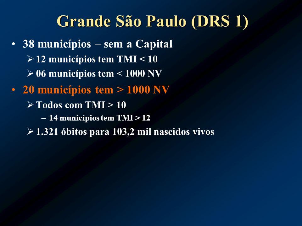Grande São Paulo (DRS 1) 38 municípios – sem a Capital