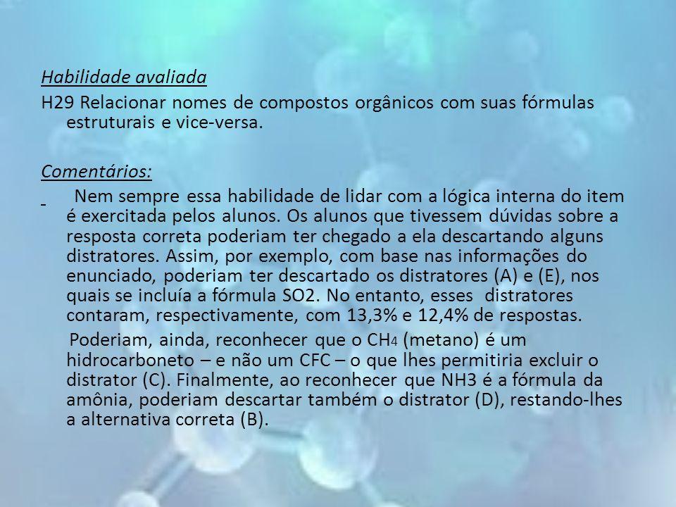 Habilidade avaliada H29 Relacionar nomes de compostos orgânicos com suas fórmulas estruturais e vice-versa.