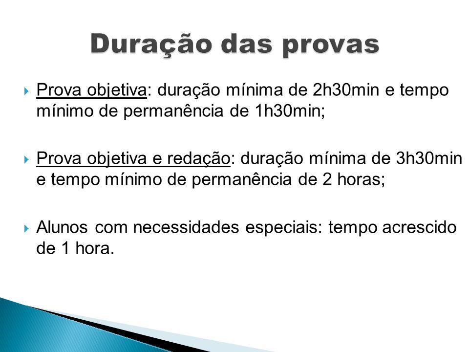 Duração das provas Prova objetiva: duração mínima de 2h30min e tempo mínimo de permanência de 1h30min;