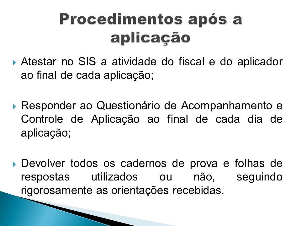 Procedimentos após a aplicação