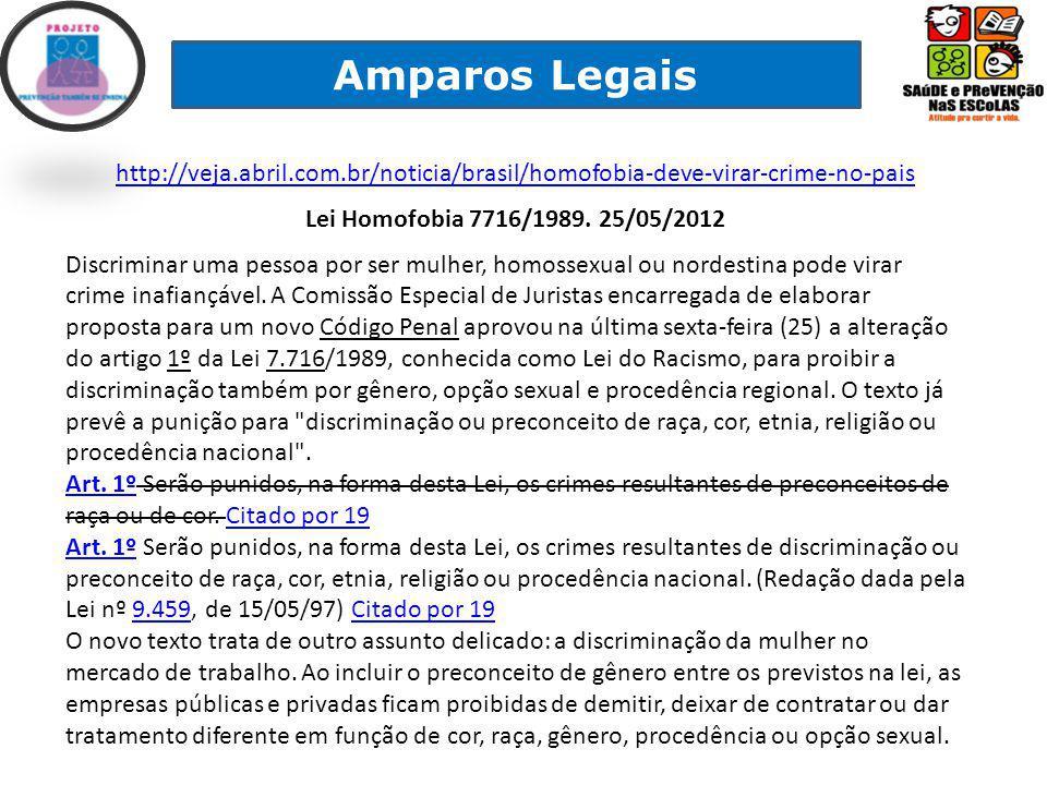 Amparos Legais http://veja.abril.com.br/noticia/brasil/homofobia-deve-virar-crime-no-pais. Lei Homofobia 7716/1989. 25/05/2012.