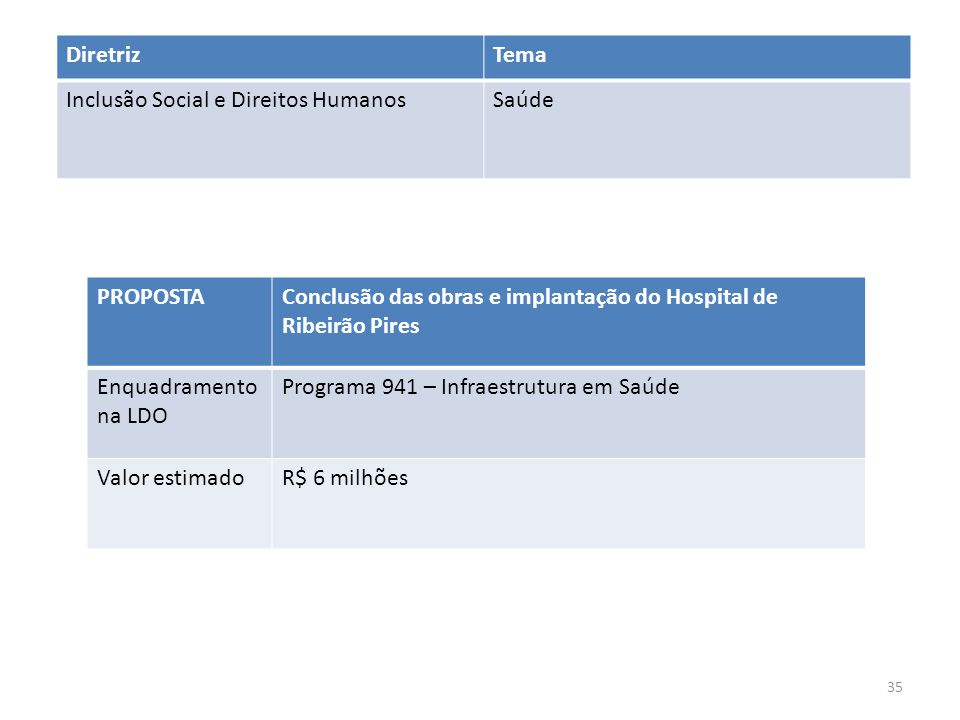 Diretriz Tema. Inclusão Social e Direitos Humanos. Saúde. PROPOSTA. Conclusão das obras e implantação do Hospital de Ribeirão Pires.