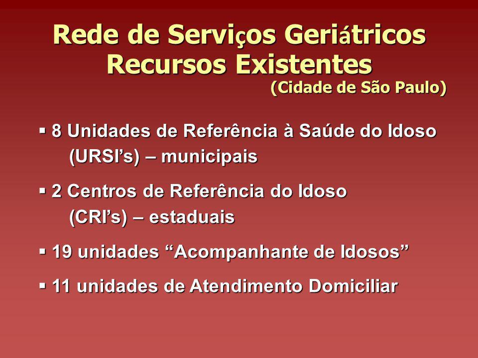Rede de Serviços Geriátricos Recursos Existentes (Cidade de São Paulo)