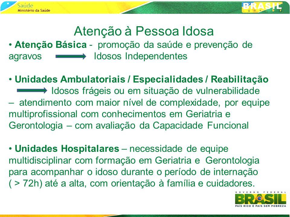 Atenção à Pessoa Idosa Atenção Básica - promoção da saúde e prevenção de agravos Idosos Independentes.