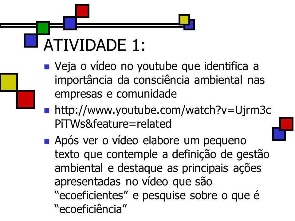 ATIVIDADE 1: Veja o vídeo no youtube que identifica a importância da consciência ambiental nas empresas e comunidade.