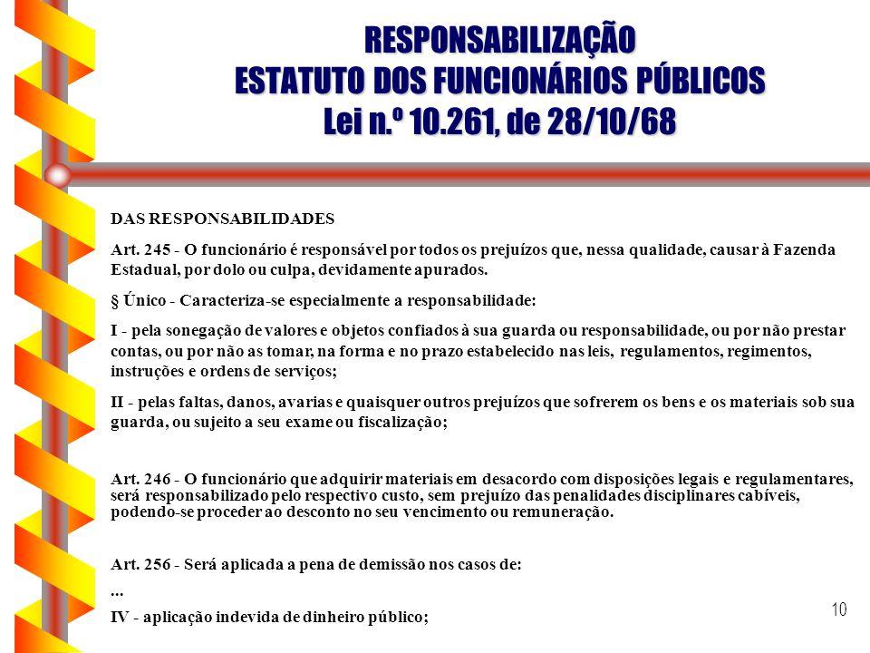 RESPONSABILIZAÇÃO ESTATUTO DOS FUNCIONÁRIOS PÚBLICOS Lei n. º 10