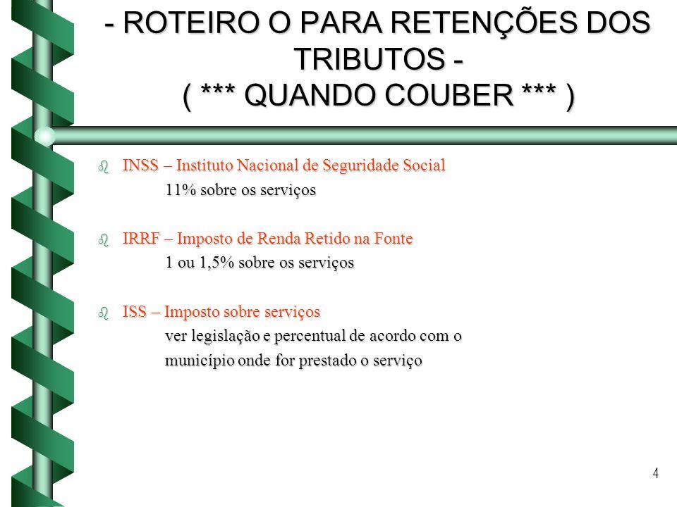 ROTEIRO O PARA RETENÇÕES DOS TRIBUTOS - ( *** QUANDO COUBER *** )