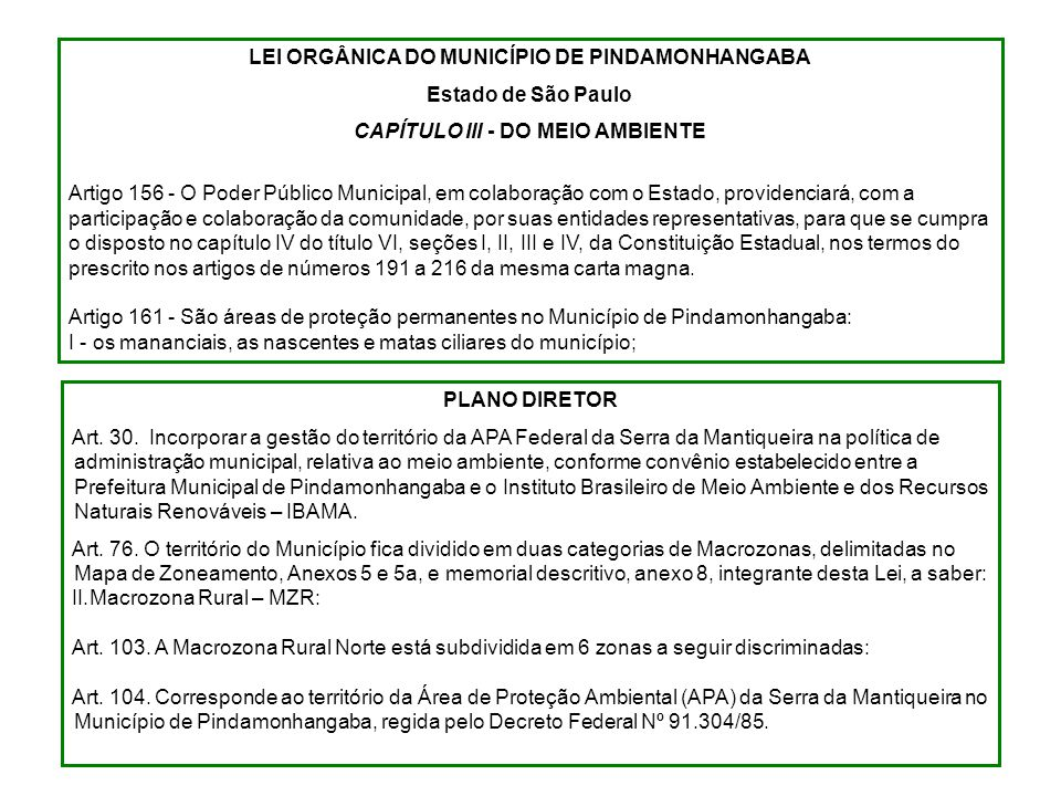 LEI ORGÂNICA DO MUNICÍPIO DE PINDAMONHANGABA Estado de São Paulo