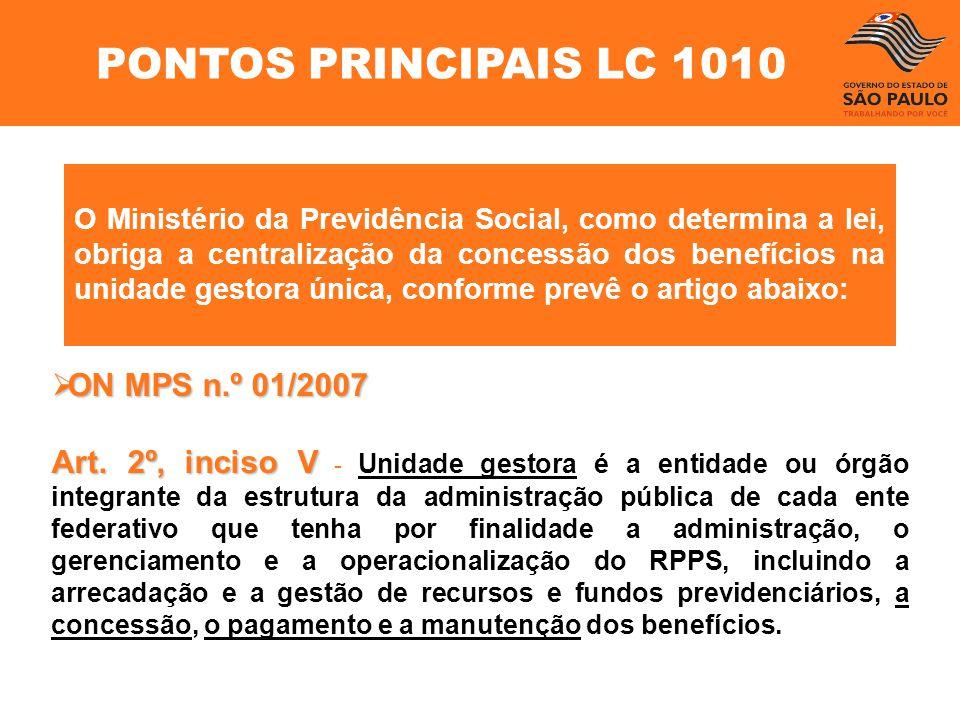 PONTOS PRINCIPAIS LC 1010 ON MPS n.º 01/2007