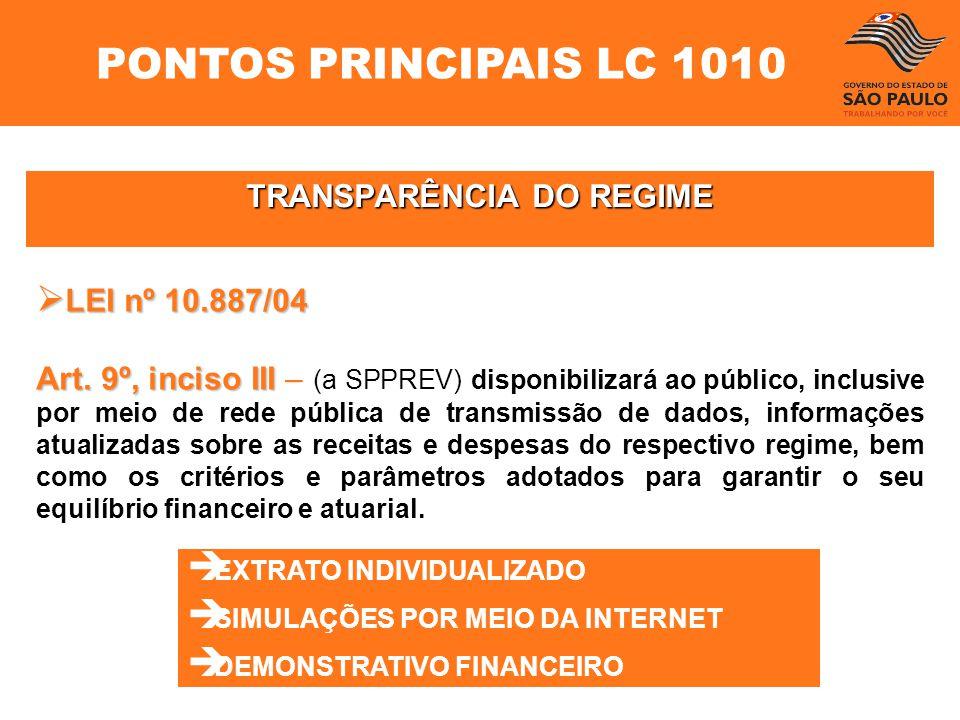 TRANSPARÊNCIA DO REGIME