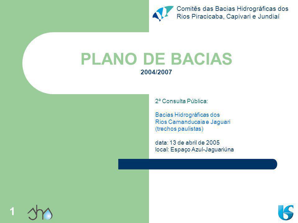 PLANO DE BACIAS 2004/2007 2ª Consulta Pública: