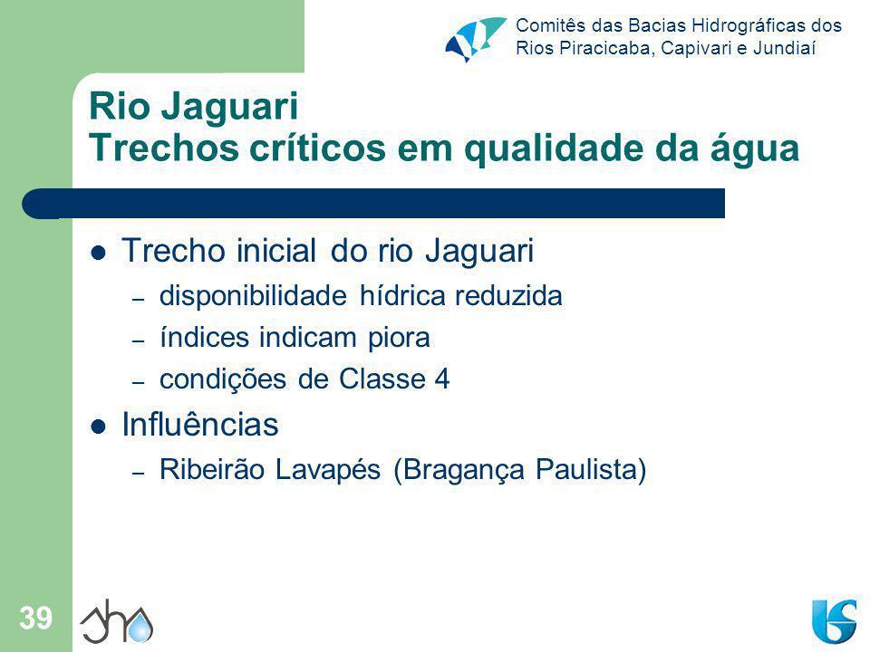 Rio Jaguari Trechos críticos em qualidade da água