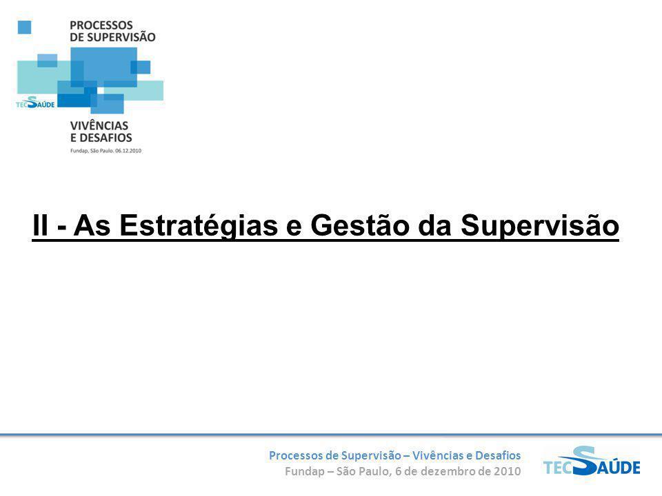 II - As Estratégias e Gestão da Supervisão