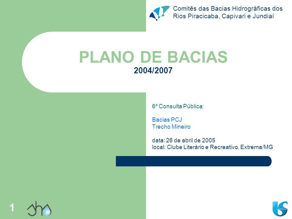 PLANO DE BACIAS 2004/2007 6ª Consulta Pública: Bacias PCJ